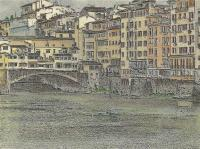 Ponte Vecchio And The Arno River Florence Italy - Mixed Media Drawings - By Anna Helena Fisher, Landscape Drawing Artist