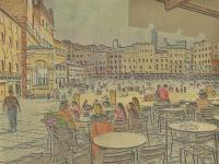 Il Campo Siena Italy - Mixed Media Drawings - By Anna Helena Fisher, Landscape Drawing Artist