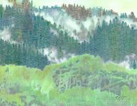 Landscape - Fog In The Pine Forest - Mixed Media