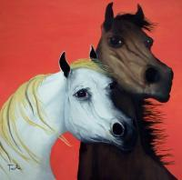 Horse Lovers In Red - Oil Paintings - By Patrick Trotter, Animal Art Painting Artist