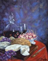 Art Sell Directly By The Artis - Cheese_And_Good_Wine_Sold - Oil On Canvas