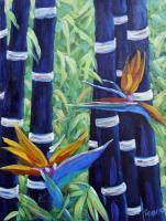 Art Sell Directly By The Artis - Abstract Bamboo And Birds Of Paradise 04 - Oil On Canvas