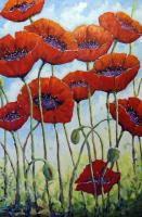 Art Sell Directly By The Artis - Skyward_Poppies By Prankearts Fine Art_Sold - Oil On Canvas