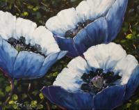 Abstract Original Painting Blue Poppies_Sold - Oil On Canvas Paintings - By Richard T Pranke, Abstract Painting Artist