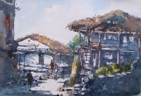 My Gallary - Manali Village View - Water Colour