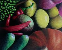 Mixed Media - Fruit And Vegetable Study - Color Pencil Chalk Acrylic Pai