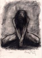 Nude Kneeling Front - Charcoal Drawings - By Eamon Gilbert, Nude Drawing Artist