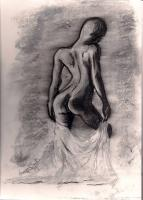 Nudes - Nude With Sheet - Charcoal