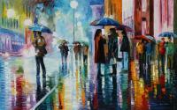 Bus Stop - Under The Water - Oil Paintings - By Leonid Afremov, Palette Knife Painting Artist