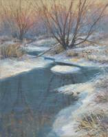 Winter Brook - Pastel Paintings - By Janet Sullivan, Realistic Painting Artist