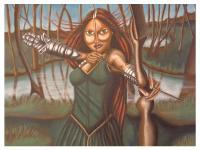 The Huntress Of Mori - Acrylic Paintings - By Carmelita Lake, Fantasy Painting Artist