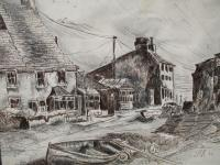 Old Beach Town - Ink And Pencils Drawings - By Tom Rechsteiner, Realism Drawing Artist