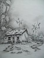 Old Mountain Shed - Ink And Pencils Drawings - By Tom Rechsteiner, Realism Drawing Artist