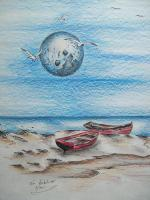 Toms Ink - Cedar Key Fishing Spot - Ink And Color Pencils