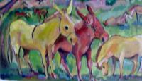 Oil Paintings - Sanctuary Of The Yellow Donkeys - Oil