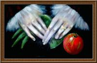 Still Life - The Hands The Glove Found And The Apple - Acrylic On Canvas