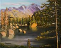 Landscape - Lake Haiyaha - Oil On Canvas