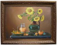 Lovely Sunflowers - Oil Paintings - By Evelyn Gemayel, Still Life Painting Artist