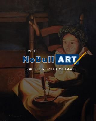 By Candlelight - Young Girl With Candle - Limited Edition Paper Print
