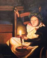 Young Girl With Candle - Limited Edition Paper Print Paintings - By Robert Arsenault, Early American Folk Art Painting Artist