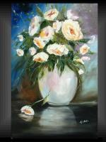 Magic Flowers - Modern Gallery Original Painting Garden Roses Vase Elka - Acrylic On Canvas