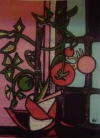 9X12 Inch Original - Everetts Tomato Plant - M Ixed Medium