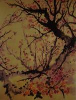 9X12 Inch Original - Old Tree On River Bank - Colored Ink