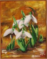 Snowdrops - Oil On Canvas Paintings - By Nina Mitkova, Realism Painting Artist