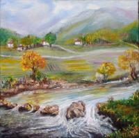 Landscape - Autumn By The River - Oil On Canvas