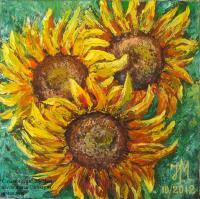 Sold - Sunflowers - Oil On Canvas