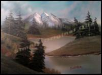 Lakes And Rivers - Mountain Lake - Oil On Canvas