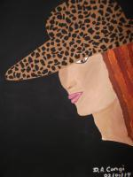 People In All Places - Lady In The Leopard Hat - Acrylic