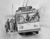 At Trolley-Bus-Stop - Pencil And Paper Drawings - By Rostislav Shmakov, Realism Drawing Artist