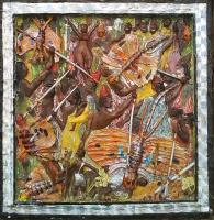 Fiction - Malokoo Village Raid - Soap Stone  Oil  Acrylics Qtex