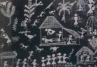 1 - Indo - Warli Painting - White Paint On D Black Cloth