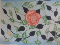 1 - Rose N Leaves - Color Pencil Shading