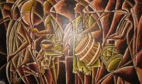 Hausa War Dancers - Oil On Canvas Paintings - By Benedict Edet, Geometric Abstraction Painting Artist