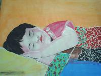 Water Colour Paintings - Sleeping Child - Water Colour On Papere