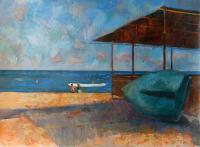 Uninhabited Cafe Beach In Sereevka 2008 - Acrylic On Canvas Paintings - By Yuri Yudaev, Impressionism Painting Artist