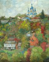 October In Kamyanets St-George Church - Oil On Canvas Paintings - By Yuri Yudaev, Impressionism Painting Artist
