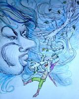 Illustrationcaricatures  Carto - Storm Scene Anja The Mighty Oak - Colored Pencil Marker And Pain