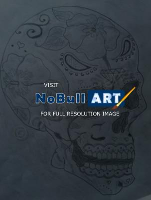 Black And Grey Drawings - Sugar Skull - Pencil And Paper