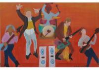A Pop Music Concert - Oil On Sretched Canvas Paintings - By Ramakrishna Yellepeddi, Contemporary Indian Art Painting Artist