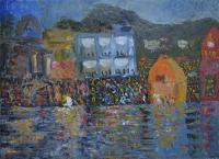 Ganga Aarti - Haridwar India - Oil On Stretched Canvas Paintings - By Ramakrishna Yellepeddi, Contemporary Indian Art Painting Artist