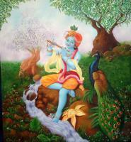 Krishna - Lord Krishna - Oil On Canvas