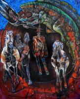 Country - Cowboys Horses And Lizards - Oil With Spray Paint And Charc