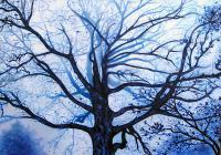 Tree In Fog - Acrylic Paintings - By Lightmare Studios, Expressionism Painting Artist