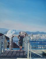 Viewing The City - Oil On Canvas Paintings - By Julia Patience, Realism Painting Artist