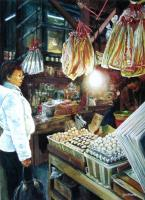 The Egg Seller Hong Kong - Watercolour And Ink Paintings - By Julia Patience, Realism Painting Artist