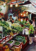 Fresh Vegetables Wet Market - Watercolour And Ink Paintings - By Julia Patience, Realism Painting Artist